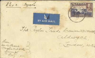 Ceylon SG#378-1Rupee Value(single frank) GAMPOLA 3/MY/37 AIRMAIL to London,, used for sale  Shipping to India