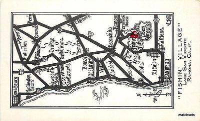 1950s SAN DIEGO CALIFORNIA Fishing Village Lake San Vincent  Map postcard 4793