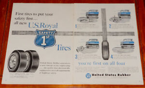 1958 U.S. ROYAL TIRES WITH B-58 BUICK LARGE VINTAGE AD - ANONCE