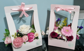 Fresh and artificial flower arrangements