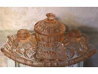 Vintage glass vanity candle set