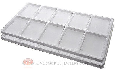 2 White Insert Tray Liners W 10 Compartments Drawer Organizer Jewelry Displays