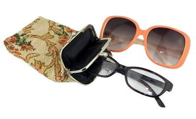 1950s Handbags, Purses, and Evening Bag Styles Vintage Tapestry Double Snap Closure Glasses Purse Eyeglass 1950s Case 2 in 1 $16.65 AT vintagedancer.com