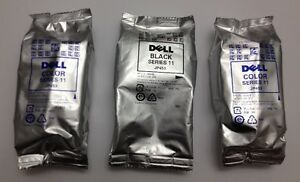 NEW -DELL Printer ink cartridges - 1 Black High Capacity and 2 C