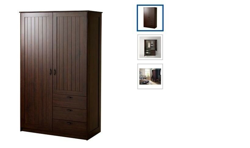 Ikea Musken Dark Wood Gentleman S Wardrobe With Drawers Shelves Collect Cronton Near Widnes