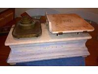 antique shop scales - potato scales - plus weights