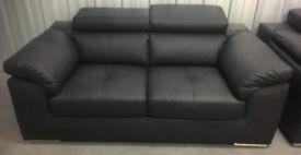 Brady designer black leather 2-seater sofa folding head rest RRP £850