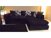 NEXT DAY DELIVERY CHENILLE FABRIC dfs CORNER SOFA BRAND NEW + DELIVERY