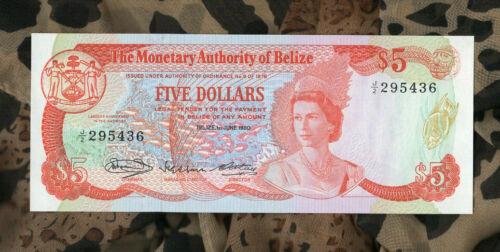 Banknotes of World Belize 1980 QEII 5 Dollar P 39 UNC Prefix J/2