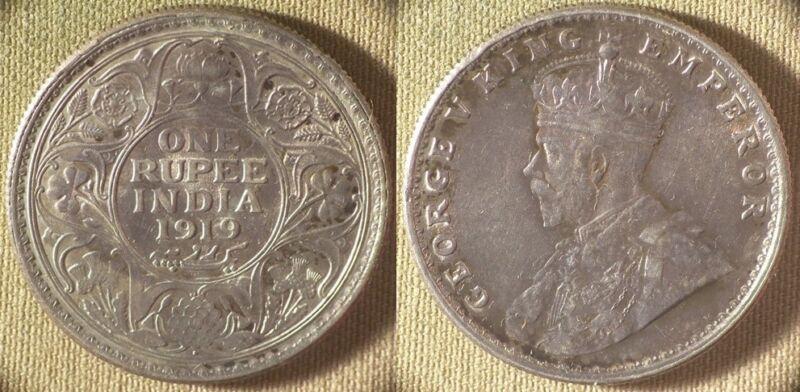 India : 1919(b) 1 Rupee Gem BU Beautiful Purple Patina  Luster  #524   IR8504