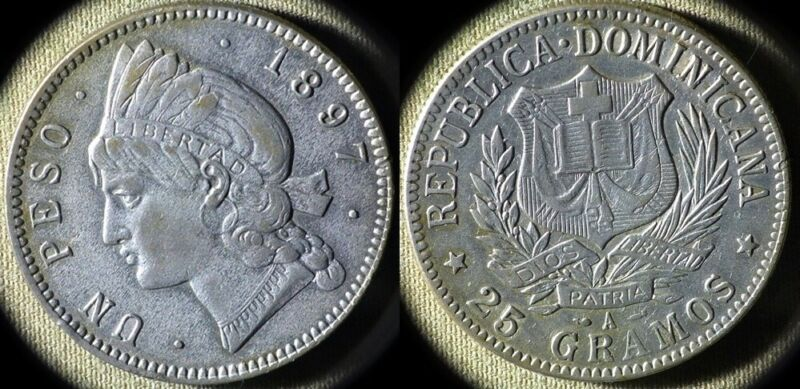Dominican Rep : 1897A 1 Peso XF+ Very Nice #16 IR5169