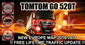 TOMTOM GO 520 WITH FREE LIFETIME TRAFFIC UPDATE AND LATEST EUROPE TRUCK MAP v.971 August 2016