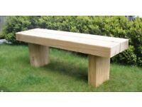 Garden bench solid chunky oak