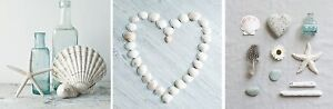 Tranquil Shell & Pebble Heart Pebble Bathroom Canvas Wall Art Pictures Set of 3