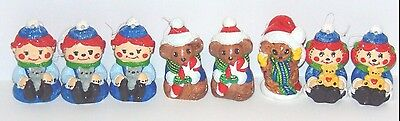 Lot of 8 Handmade Ceramic Christmas Tree Ornaments Holiday Unique Painted