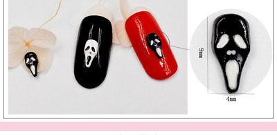 2 St. Nagelschmuck Deko Nail Overlay Halloween Maske weiss schwarz SS326