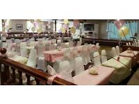 50 white Wedding and event chair cover hire with 50 pink sashes