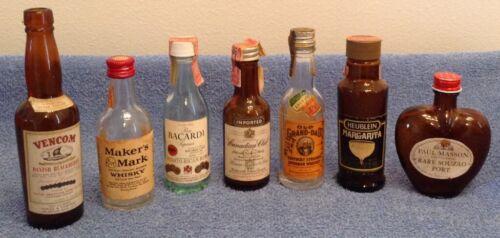 7 -Vintage Original Mini Whiskey Rum Vodka Wine Collectable Alcohol Bottles