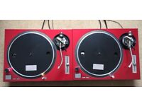2 X Technics SL-1200 MK2 Turntables With Custom Cherry Red Covers