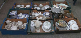 8 BOXES OF CERAMICS & 1 OF METALWARE. SUITABLE FOR EBAY, CAR BOOTING ETC.