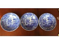 3 Copeland Spode Blue Italian Round Plates Dishes