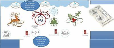 Elizabeth Craft Die Combo/Stamps FLOURISH~ CHRISTMAS, DEER,  HOLLY & SENTIMENTS