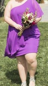 Purple one-shoulder dress