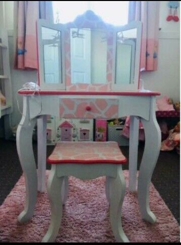 Outstanding Childrens Wooden Vanity Dressing Table Mirror Stool Set In Angus Gumtree Pdpeps Interior Chair Design Pdpepsorg