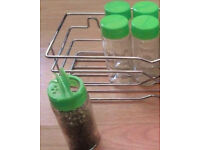 5 New Green Lids Sprinkler Top Clear Glass EMPTY Refillable Replacement Spice Jars.