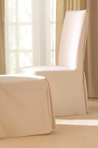(6) NEW Surefit Ivory Slipcovers for dining chairs.