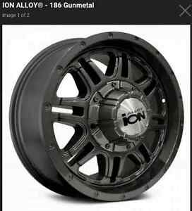 REDUCED PRICE!!! ALLOY iON  GUN METAL  RIMS AND TIRES