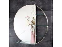 Large Round Glass & Chrome bathroom mirror with glass shelves