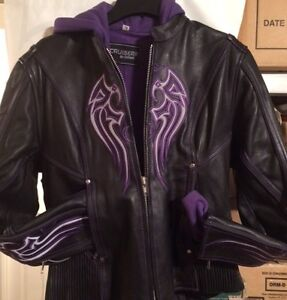 2 ladies leather jacket with purple accents