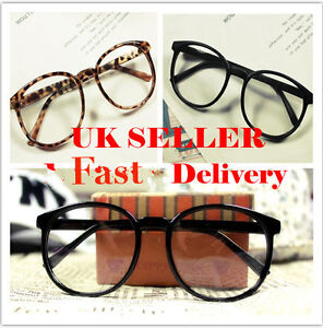 Vintage-Retro-Style-Oversized-Round-Shape-Nerd-Geek-Glasses-Frame-Clear-Lens