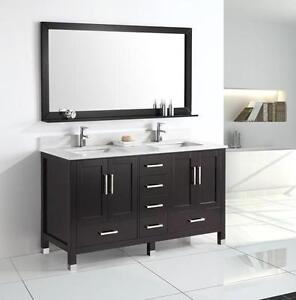 "60"" Espresso Bathroom Vanity- COMPLETE SET"