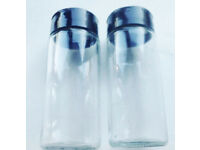 2 New Clear Glass EMPTY Refillable Spice Jars with Black Lidded Sprinkler Tops #2.
