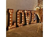 Light up, rustic, 5ft LOVE letters for HIRE (Post box, seating plan, welcome sign)