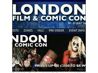 5 x tickets London film & comic con July 30th saturday