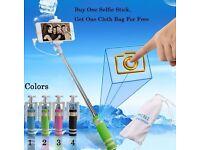 £7 Mini Folding Phone Wired Selfie Stick!! for iphone Samsung Built-in Shutter Camera Monopod Tripod