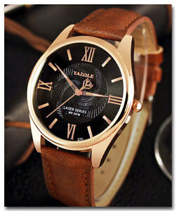 Luxury Men's Business Quartz Watch with Brown Leather Band