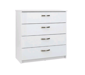 £45 Cheval 4 Drawer Chest of Drawers - White New and unused Still bo