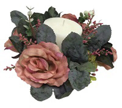 Candle Rings  MANY COLORS  Wedding Party Centerpieces Silk Flowers Roses Vintage - Flower Centerpieces