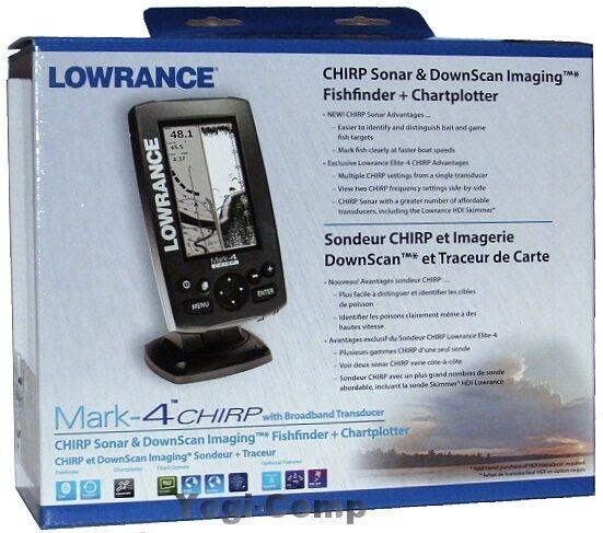 Lowrance mark 4 chirp sonar gps fishfinder chartplotter for Fish finder transducer