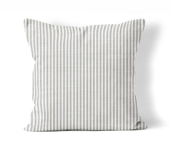 Grey Ticking Stripe Throw Pillow Cover   Farmhouse County Ch