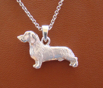Small Sterling Silver Wire Hair Dachshund Standing Study Pendant