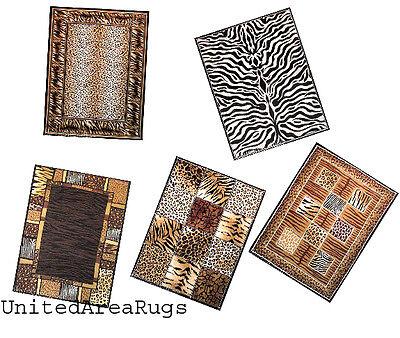Cheetah Animal Print Rug - 5x7  Rug Mix Wild Animal Skin Design Tiger Leopard Zebra Giraffe Cheetah 60% OFF