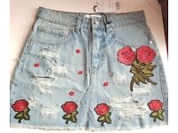 EMBRIODED DENIM JEANS SKIRT SIZE 8