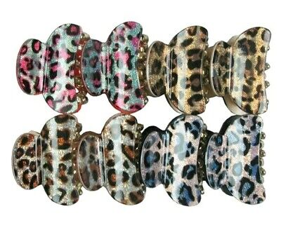12 pieces Cheetah Zebra Printed Hair Claw Jaw Snap Clamp Clip Scallop Comb (Cheetah Zebra)