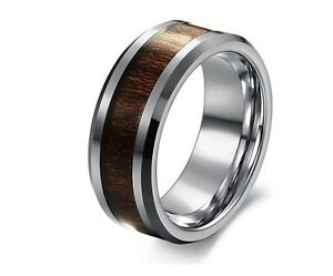 MENS-SOLID-TUNGSTEN-Carbide-carbon-fiber-WEDDING-RING-Band-Engagement ...