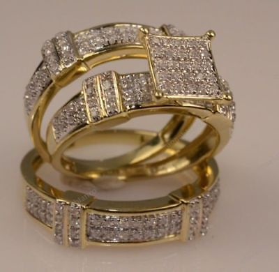14k Solid Yellow Gold Over 1.75CT Round Diamond Trio Ring Set Engagement Wedding 14k Diamond Trio Set